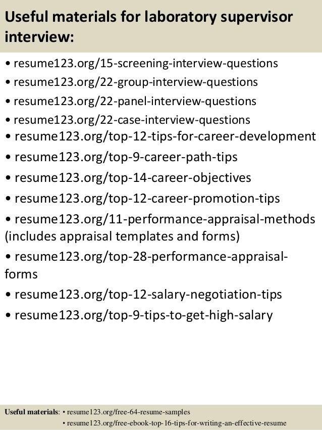 Top 8 laboratory supervisor resume samples