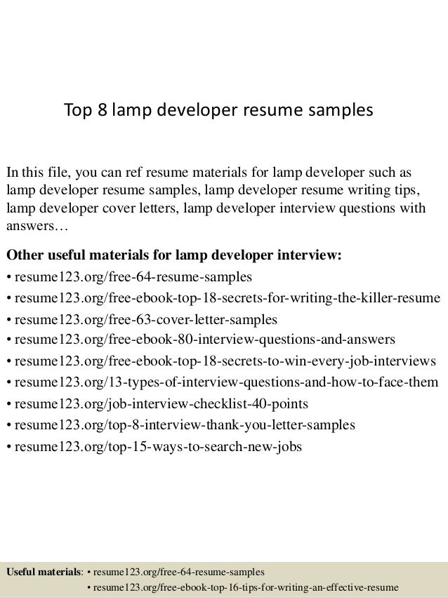 Top 8 Lamp Developer Resume Samples In This File, You Can Ref Resume  Materials For ...