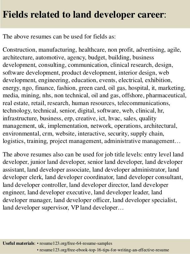 top 8 land developer resume samples