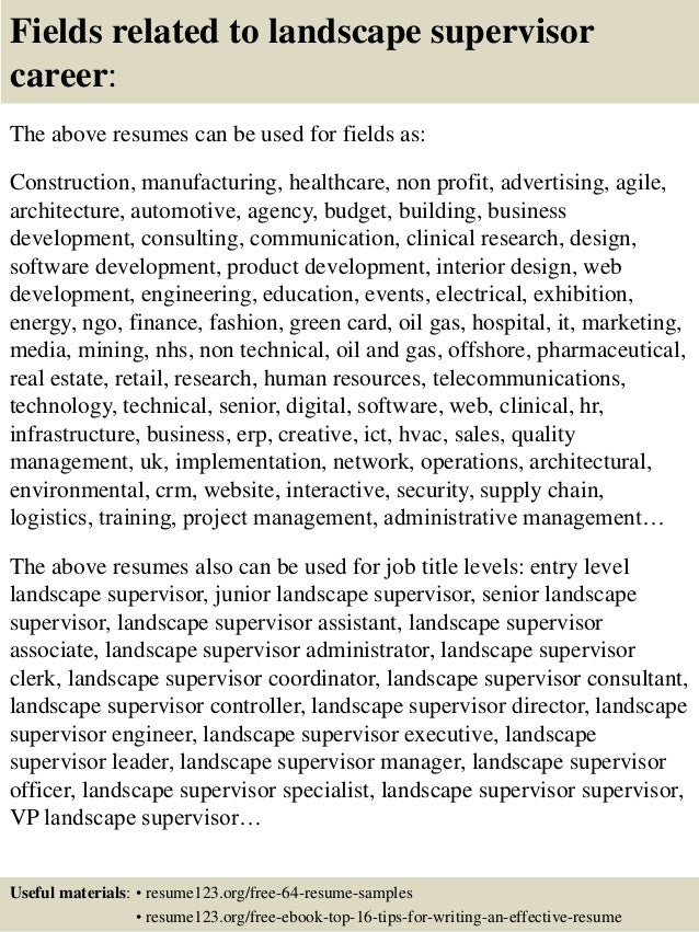 top 8 landscape supervisor resume sles