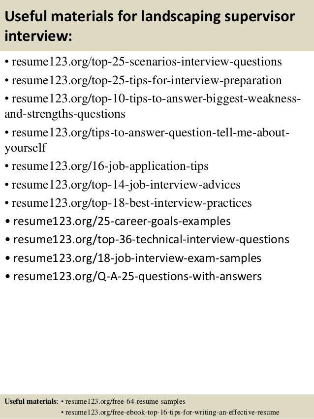 Top 8 landscaping supervisor resume samples