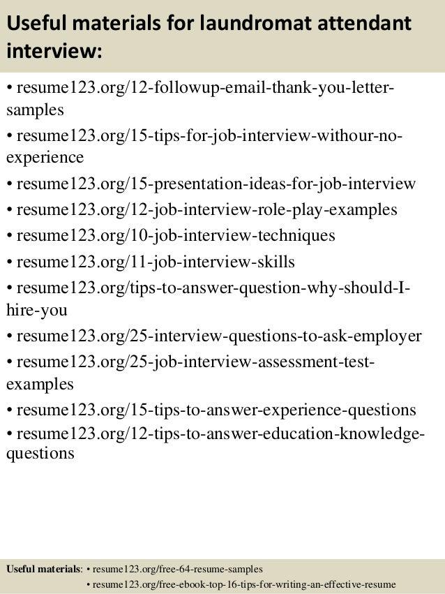 top 8 laundromat attendant resume samples - Linen Attendant Sample Resume