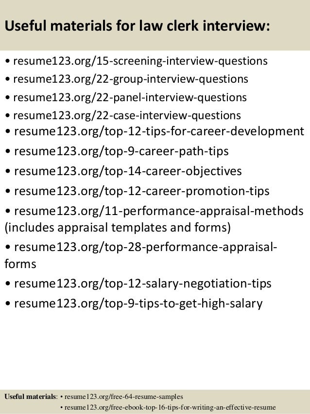 Top 8 law clerk resume samples