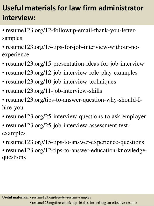 14 useful materials for law firm administrator - Firm Administrator Sample Resume