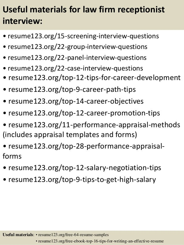 Top  Law Firm Receptionist Resume Samples