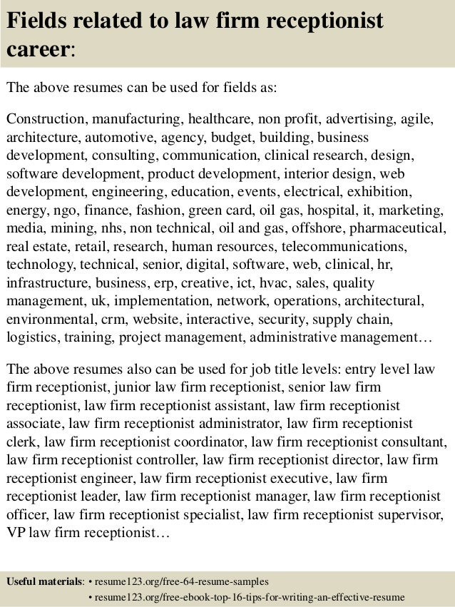 16 fields related to law firm receptionist - Sample Resume For Receptionist In Law Firm