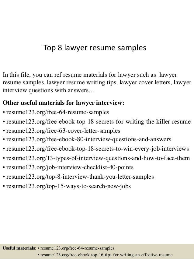 Top 8 lawyer resume samples In this file, you can ref resume materials for lawyer such as lawyer resume samples, lawyer re...