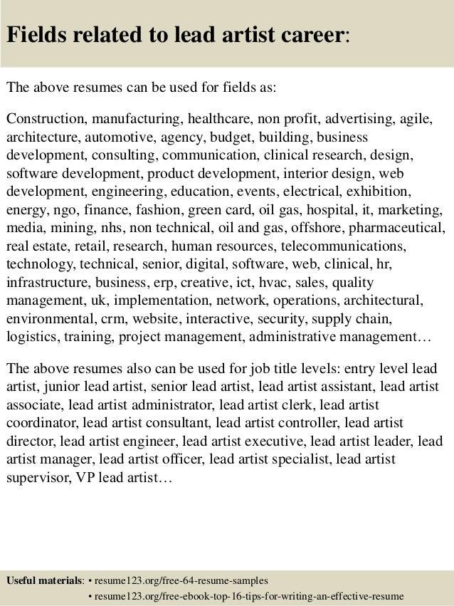 Top 8 lead artist resume samples