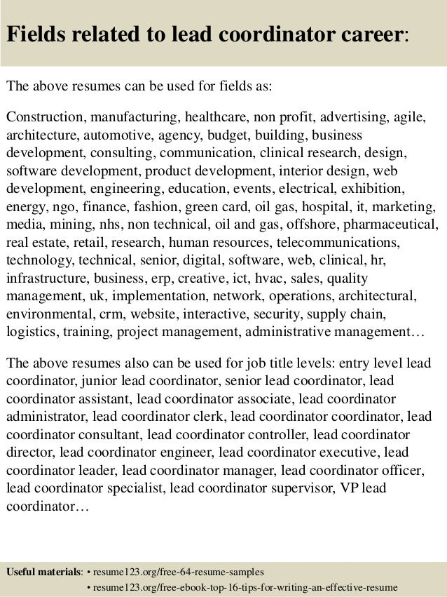 Top 8 lead coordinator resume samples