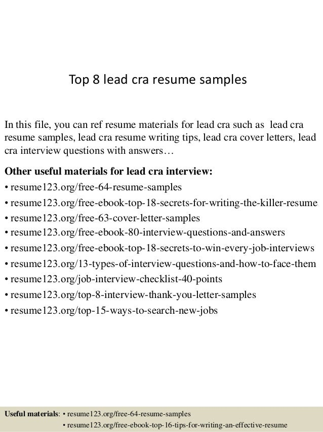Top 8 Lead Cra Resume Samples