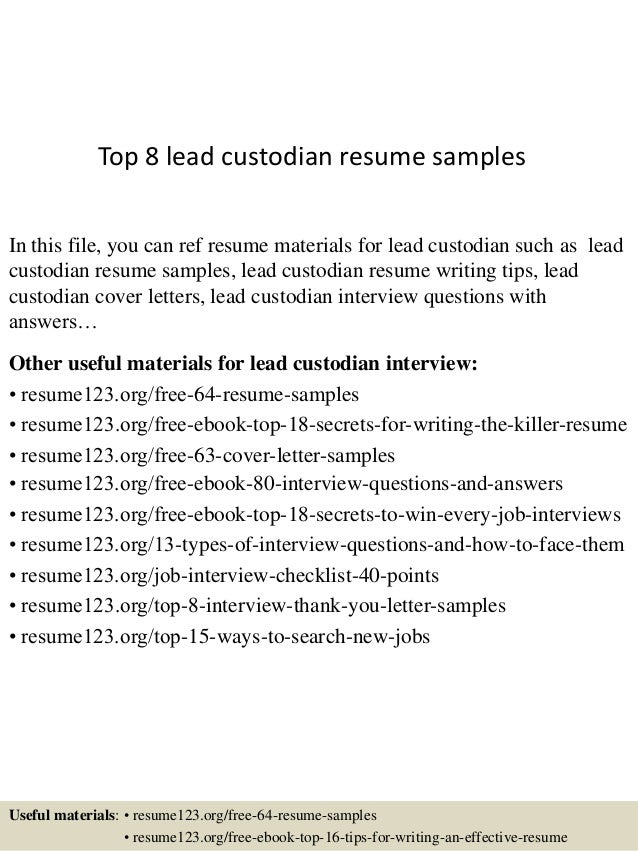 top 8 lead custodian resume samples
