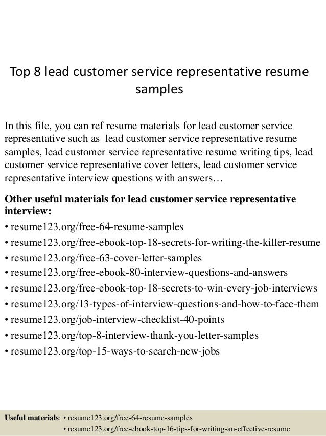 top 8 lead customer service representative resume samples in this file you can ref resume - Customer Service Representative Resume