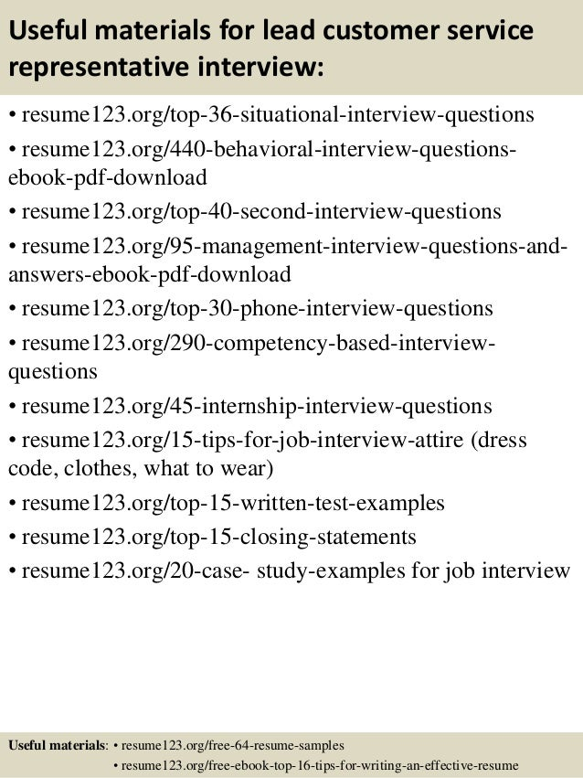 Top 8 lead customer service representative resume samples
