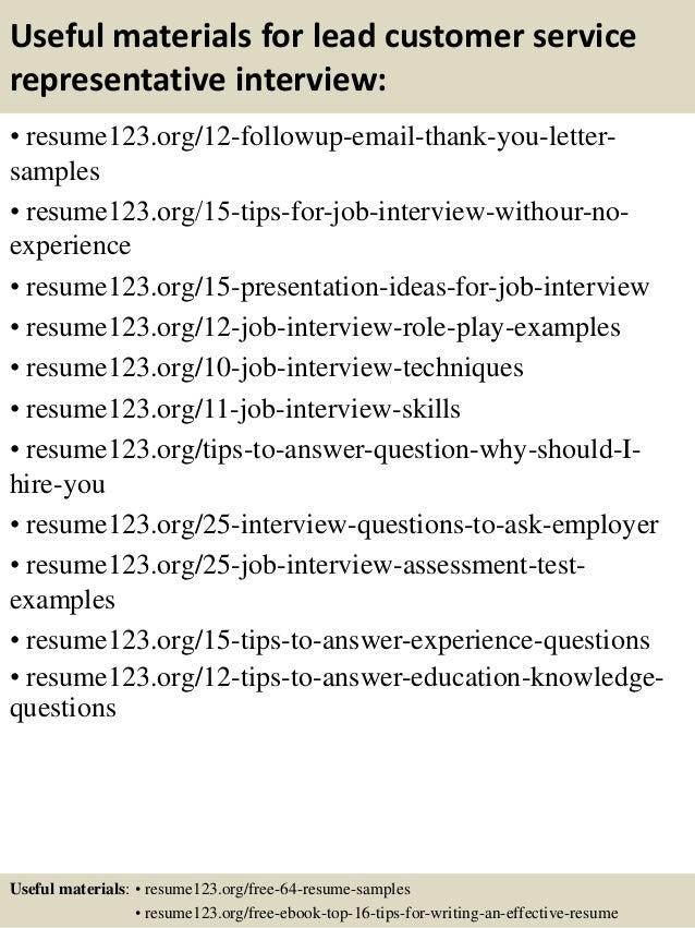 Top 8 lead customer service representative resume samples