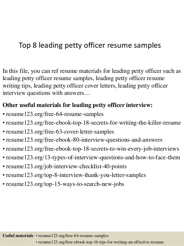 Top 8 Leading Petty Officer Resume Samples In This File, You Can Ref Resume  Materials ...