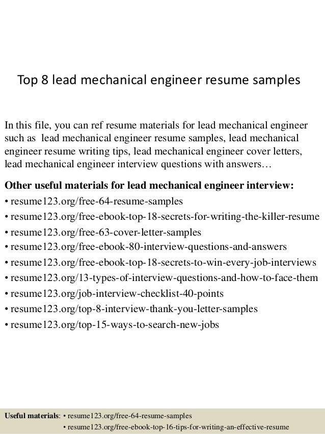 sample mechanical engineering resumes
