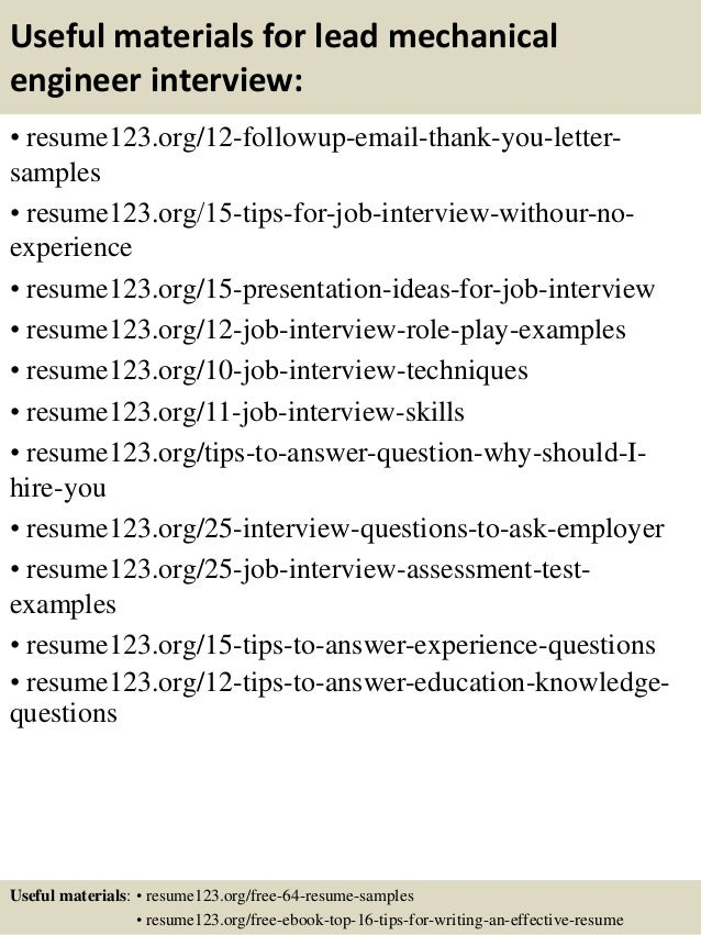 14 useful materials for lead mechanical engineer - Lead Mechanical Engineer Sample Resume