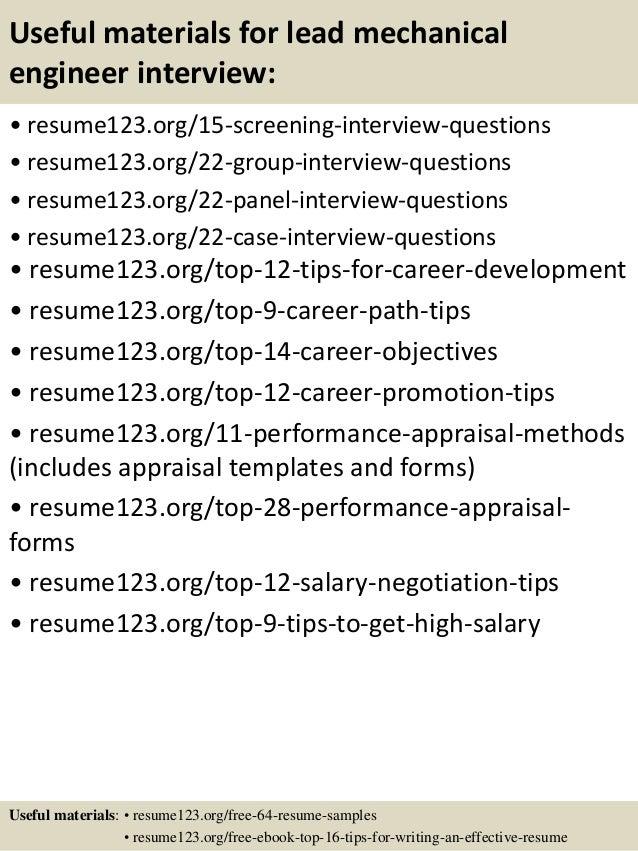 Top 8 Lead Mechanical Engineer Resume Samples