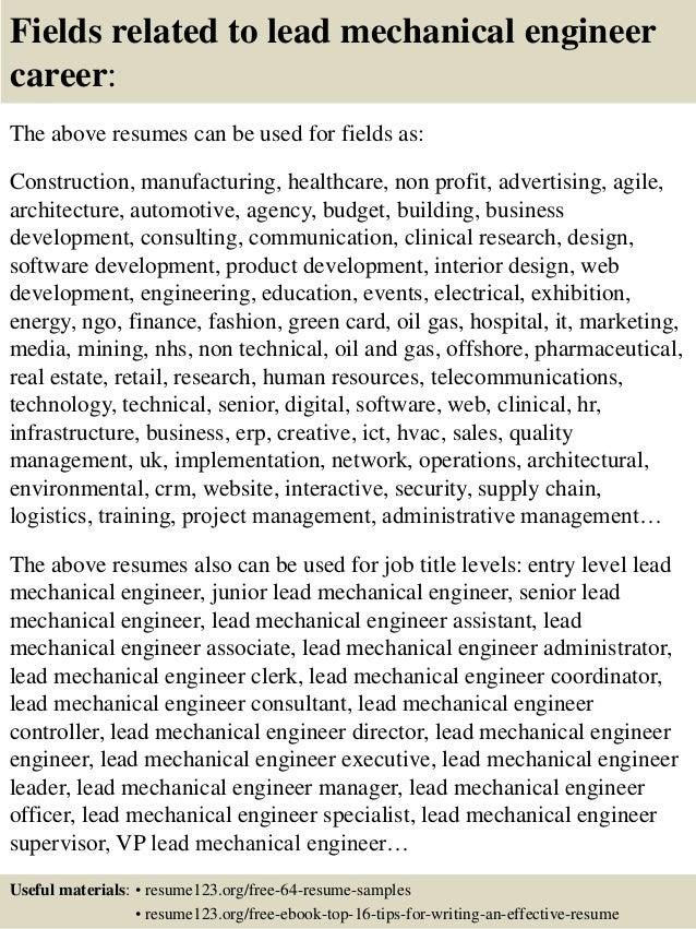 16 fields related to lead mechanical engineer - Mechanical Engineer Resume Sample