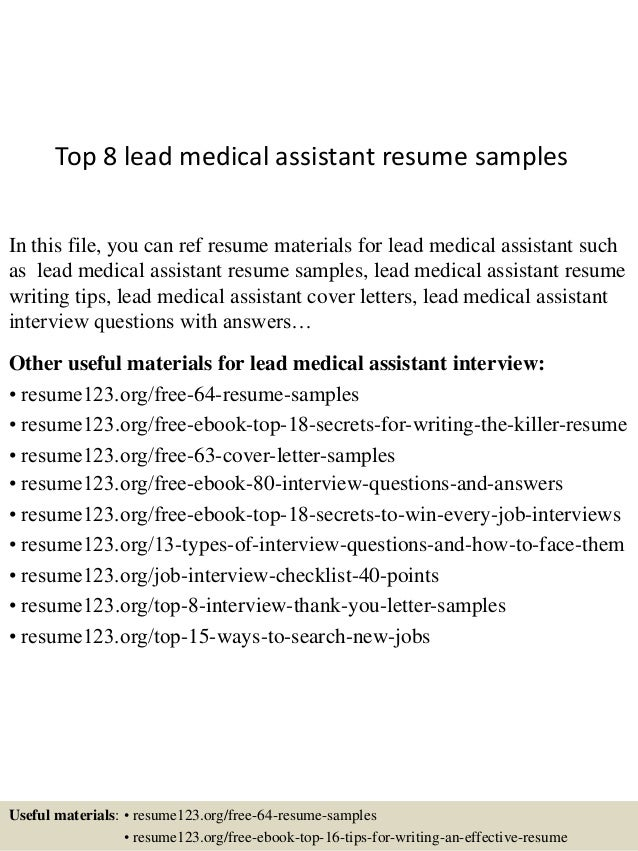 Sample Resume For Medical Istant | Top 8 Lead Medical Assistant Resume Samples