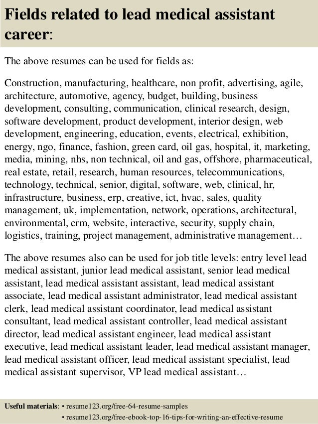 ... 16. Fields Related To Lead Medical Assistant Career: The Above Resumes  ...  Medical Assistant Qualifications Resume