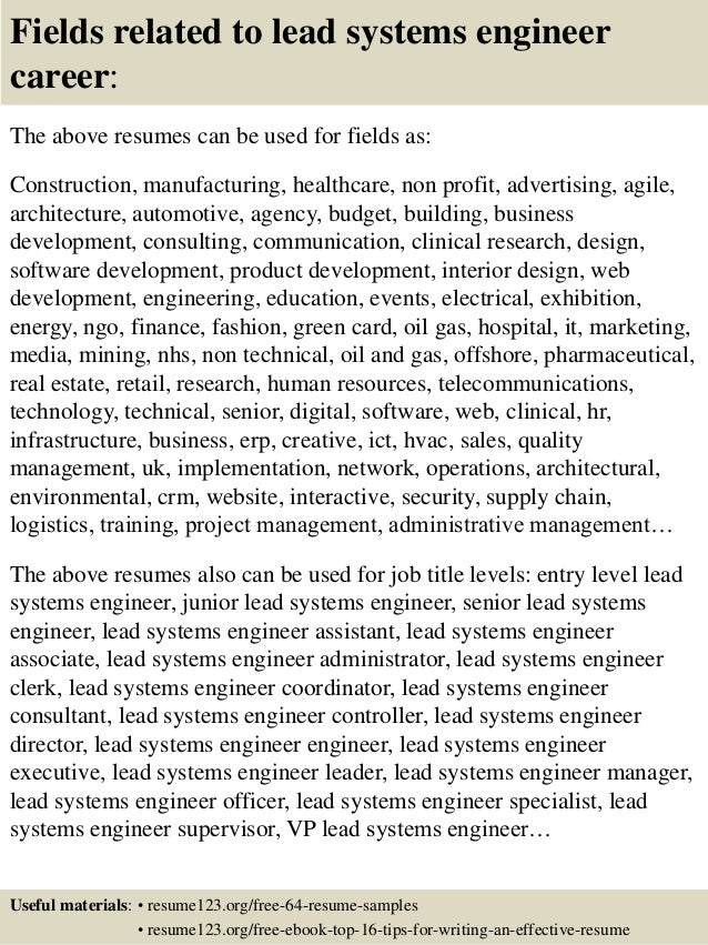 System Engineer Resume Samples  Systems Engineer Resume