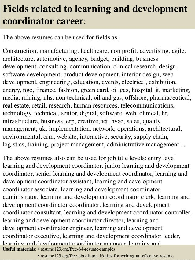 learning and development resume samples
