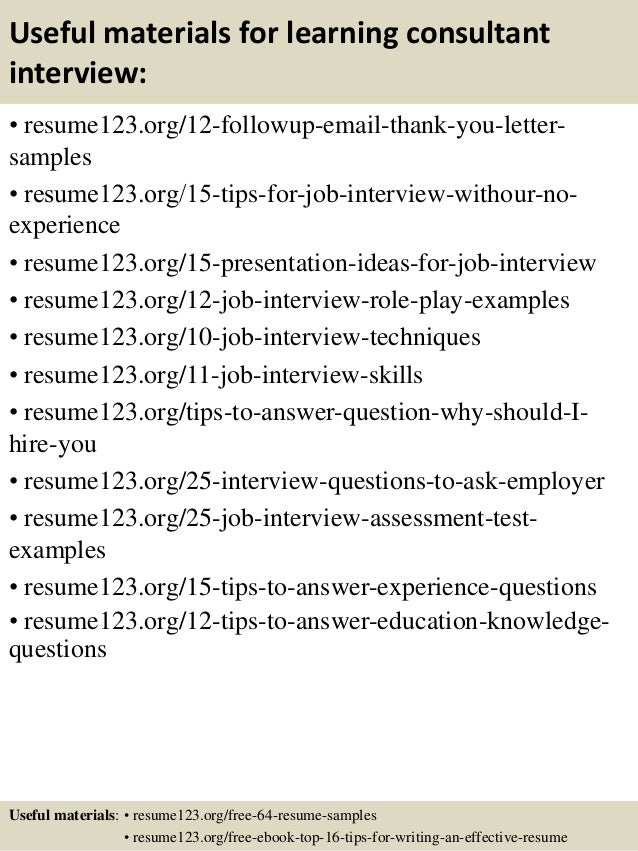 learning consultant resumes