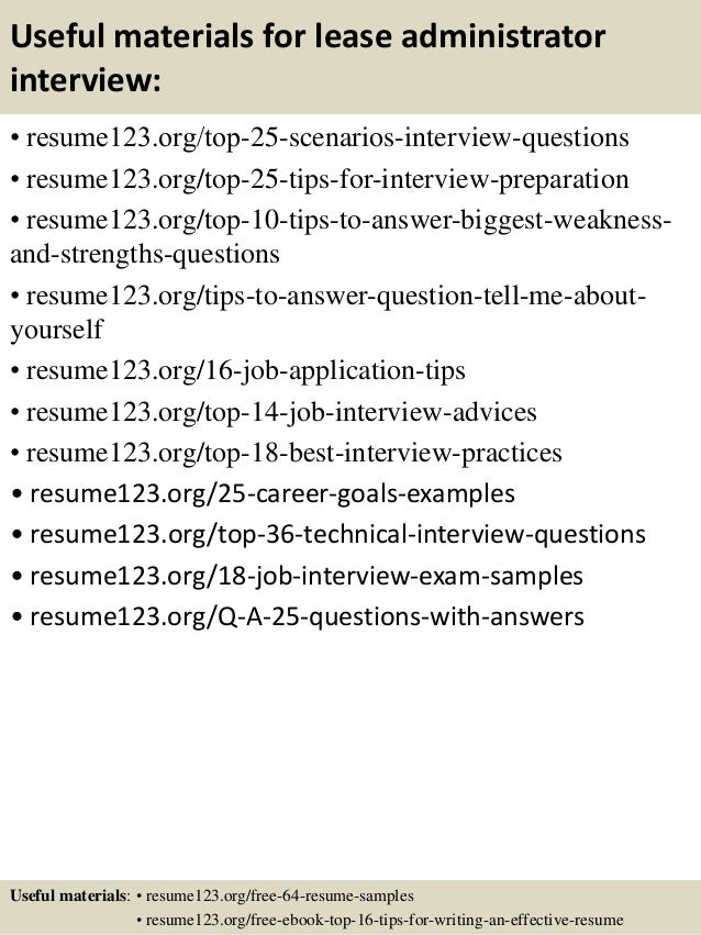 13 useful materials for lease administrator - Leasing Administrator Sample Resume