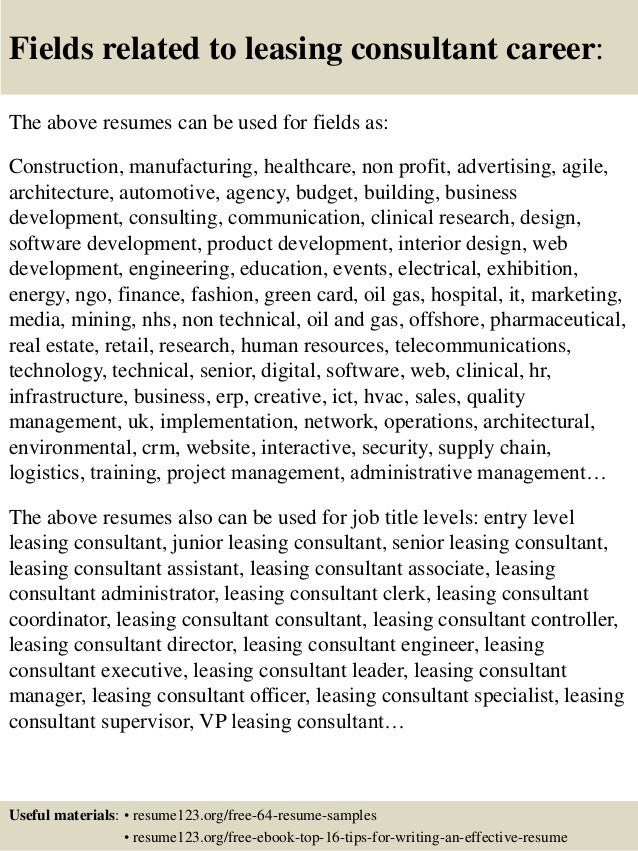 ... 16. Fields Related To Leasing Consultant ...  Leasing Consultant Resume