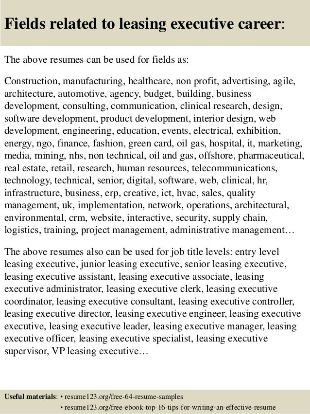 top 8 leasing executive resume samples