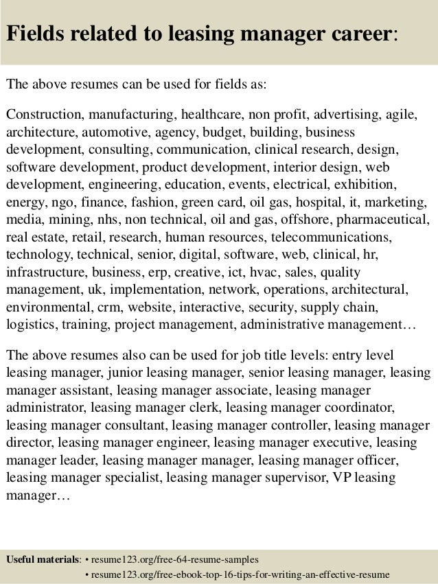 16 fields related to leasing manager - Leasing Manager Resume