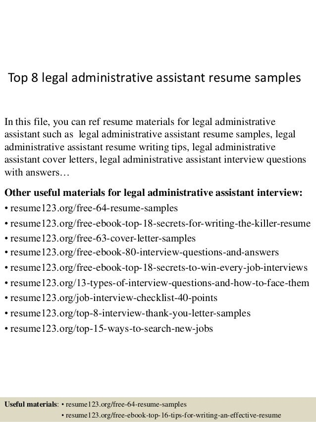 Top 8 Legal Administrative Assistant Resume Samples In This File You Can Ref Materials