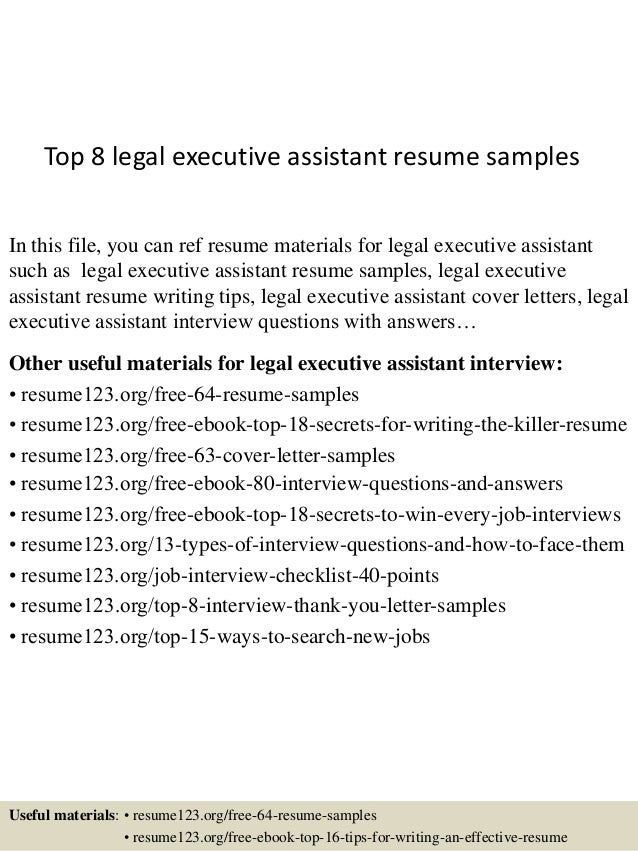Top 8 Legal Executive Assistant Resume Samples In This File, You Can Ref  Resume Materials ...