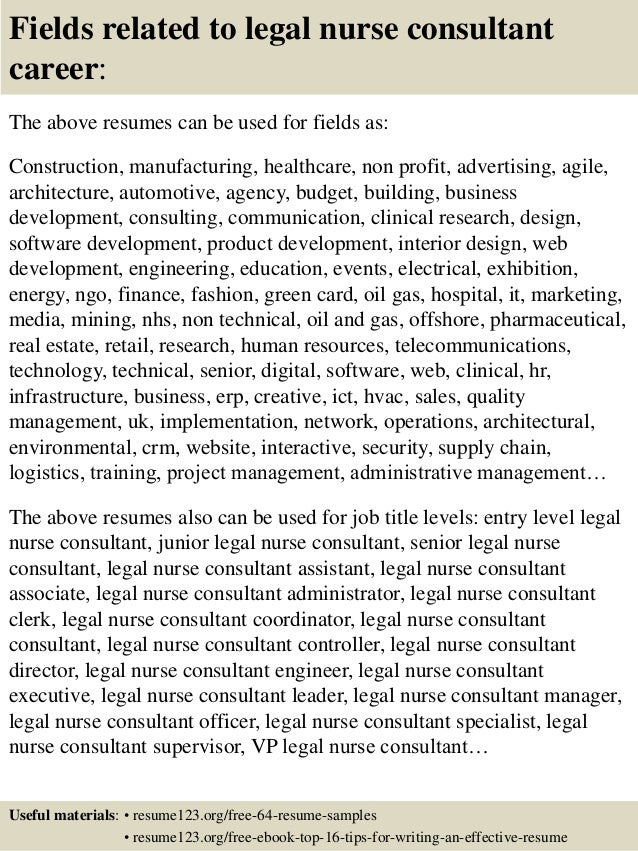 Top  Legal Nurse Consultant Resume Samples