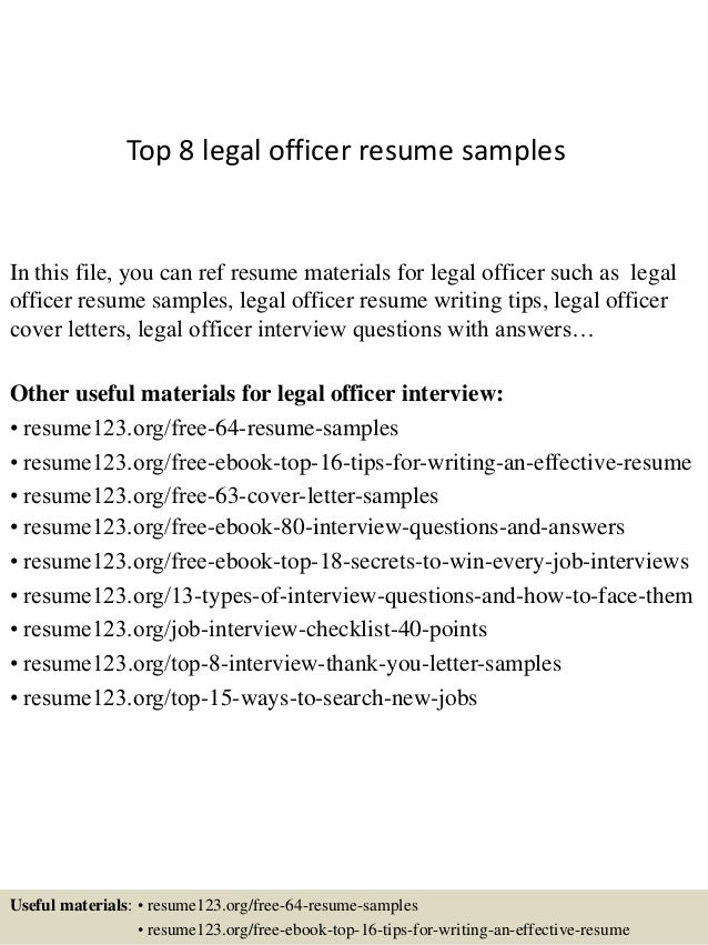 Top 8 Legal Officer Resume Samples In This File, You Can Ref Resume  Materials For ...  Sample Legal Resumes