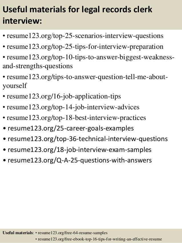 Top  Legal Records Clerk Resume Samples