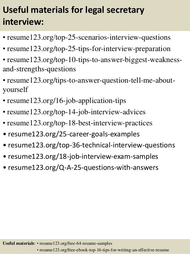 ... 13. Useful Materials For Legal Secretary ...  Legal Assistant Resume Samples