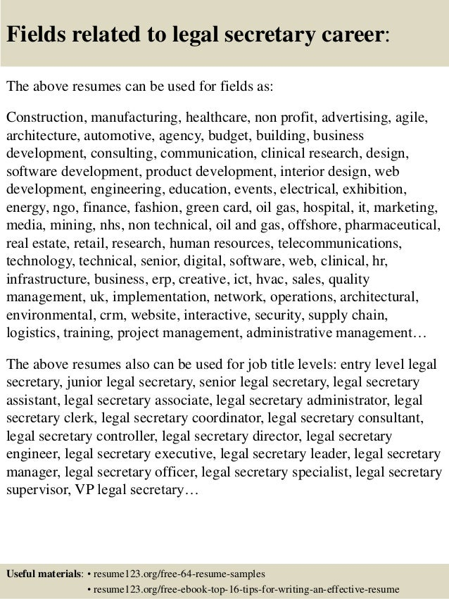 16 fields related to legal secretary