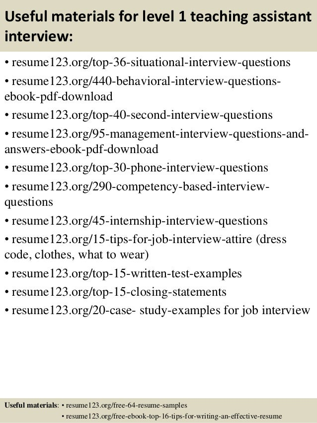 12 useful materials for level 1 teaching assistant teacher assistant resume - Sample Teacher Assistant Resume