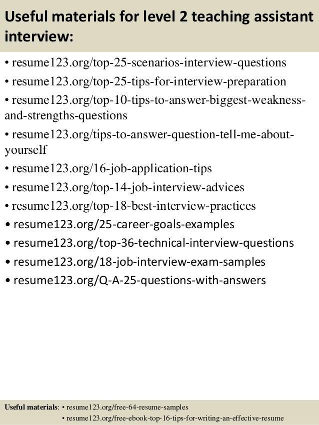 teaching assistant resume samples