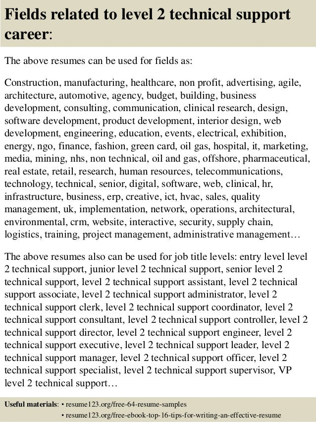 top 8 level 2 technical support resume samples