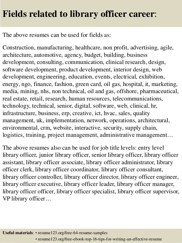 16 fields related to library. Resume Example. Resume CV Cover Letter