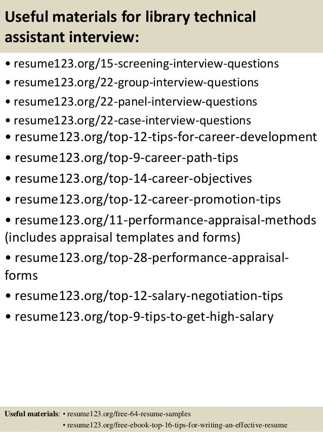 Top 8 library technical assistant resume samples – Library Assistant Resume