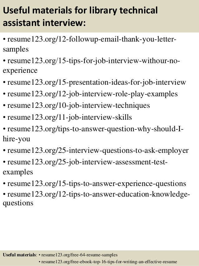 Top 8 library technical assistant resume samples