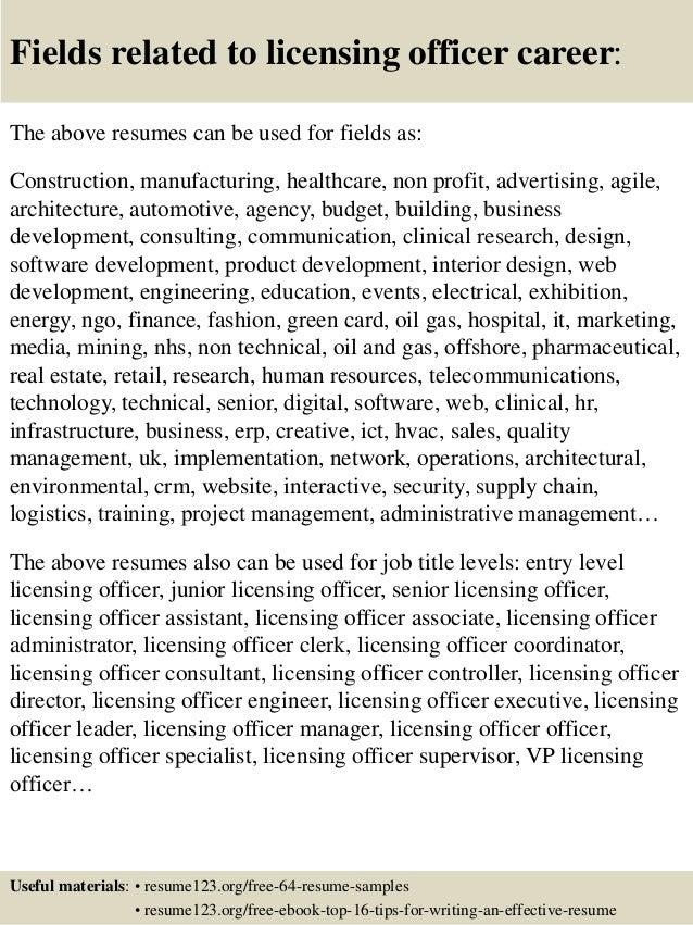 Top 8 licensing officer resume samples