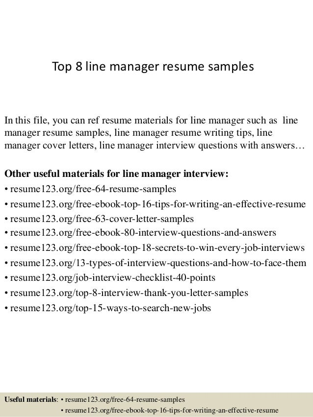 top 8 line manager resume samples in this file you can ref resume materials for - Zonal Manager Resume Sample