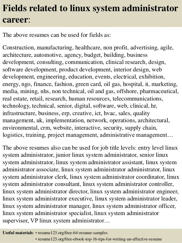 Merveilleux ... 16. Fields Related To Linux System Administrator Career: The Above  Resumes ...