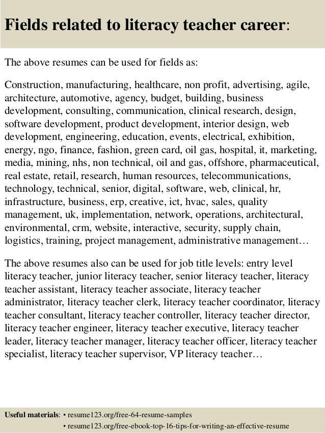 ... 16. Fields Related To Literacy Teacher ...