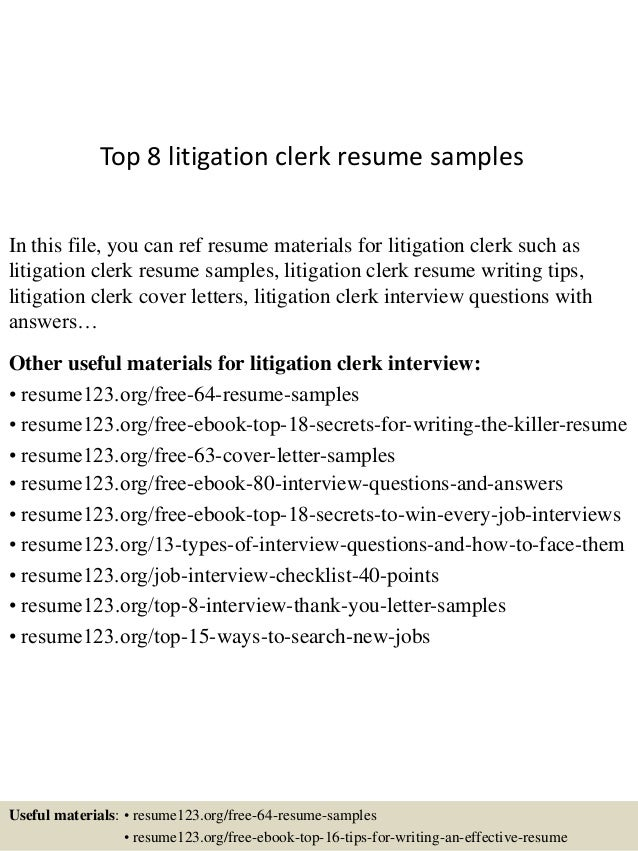 top 8 litigation clerk resume samples 1 638 jpg cb 1431824667